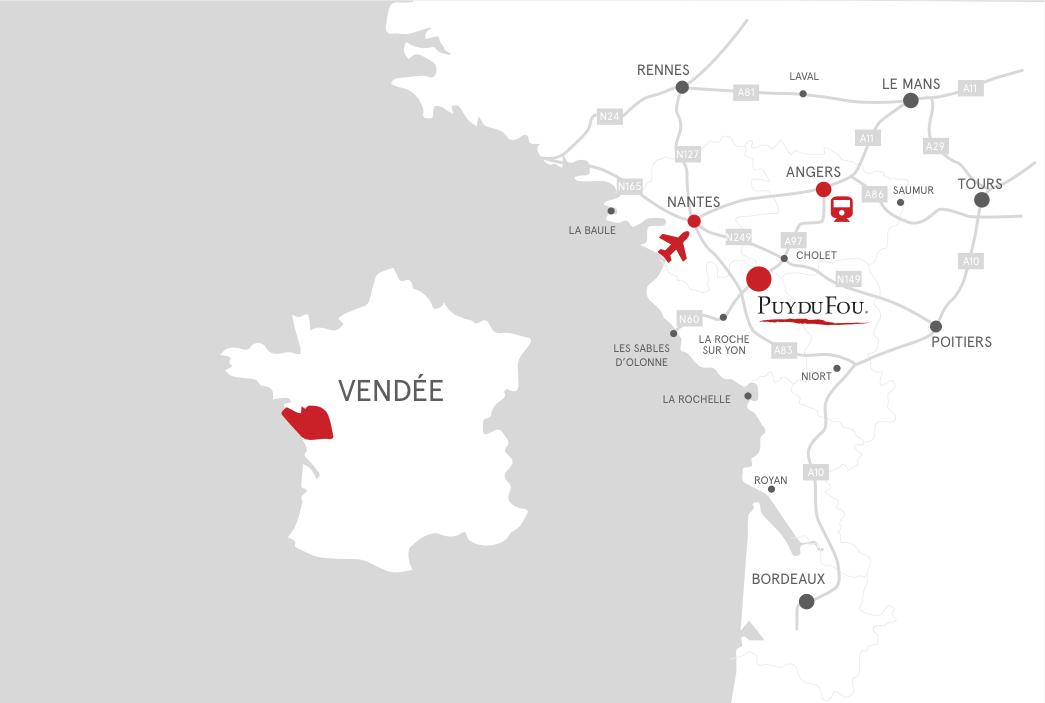 puy du fou carte de france Getting here | Puy du Fou