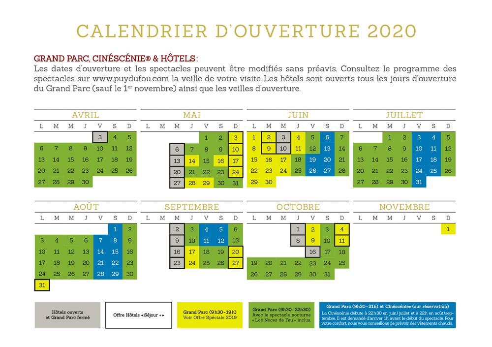 Calendrier Saison 2020.Saison 2020 Puy Du Fou