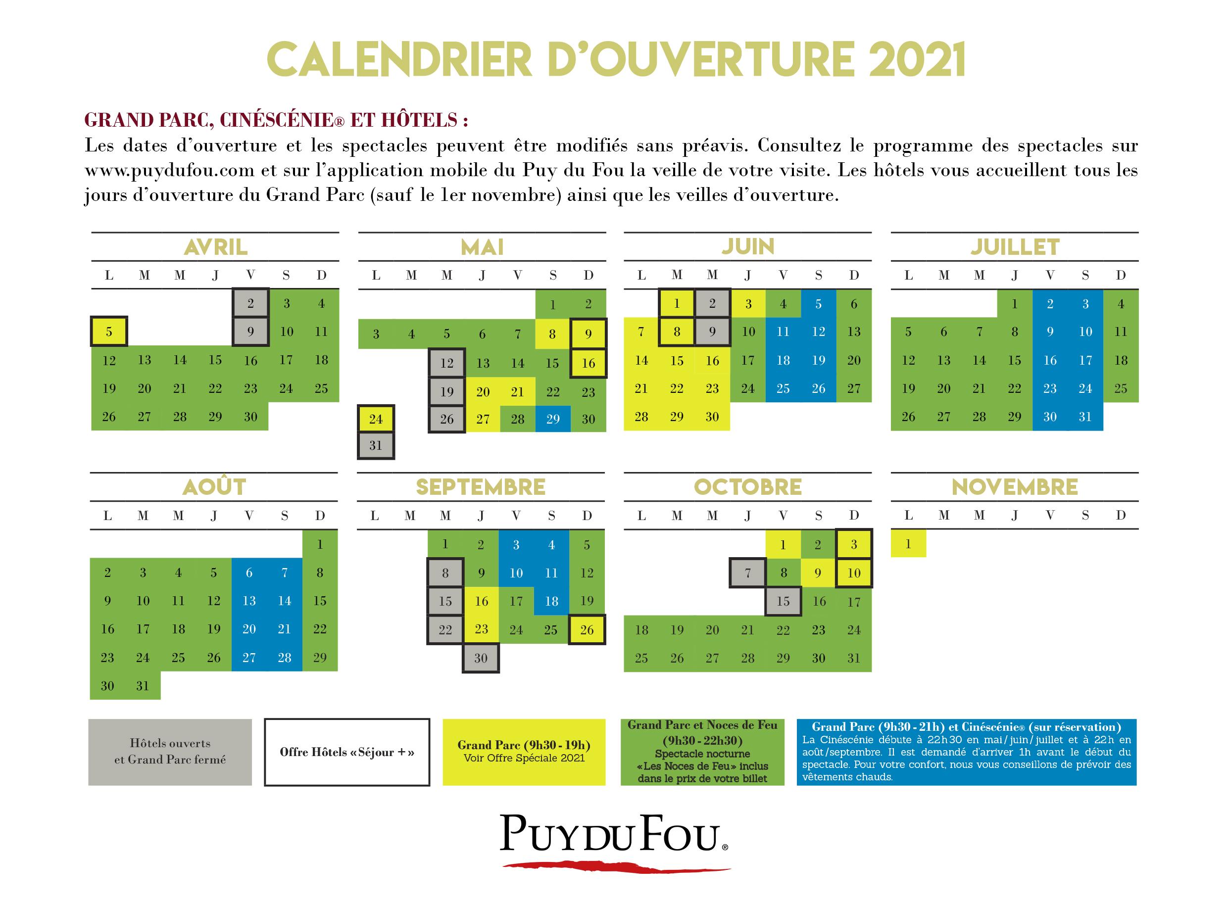 Calendrier 2021 Puy Du Fou 2021 Season | Puy du Fou
